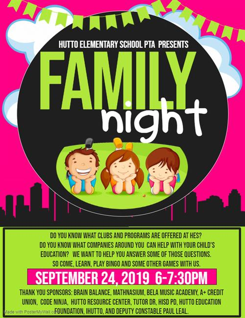 HES Family Night on 9/24/19, 6-7:30 PM