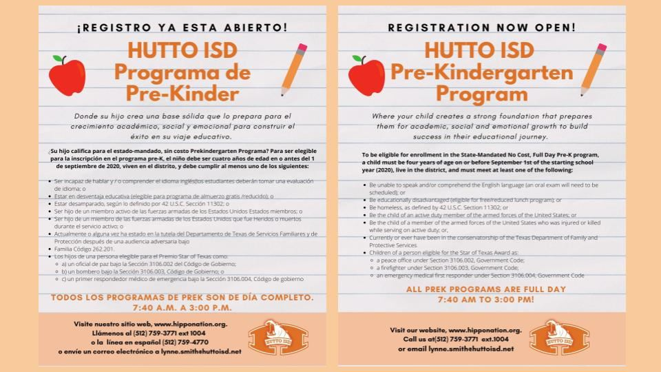 Prek Registration Open -  Inscripciones Abiertas para Prek