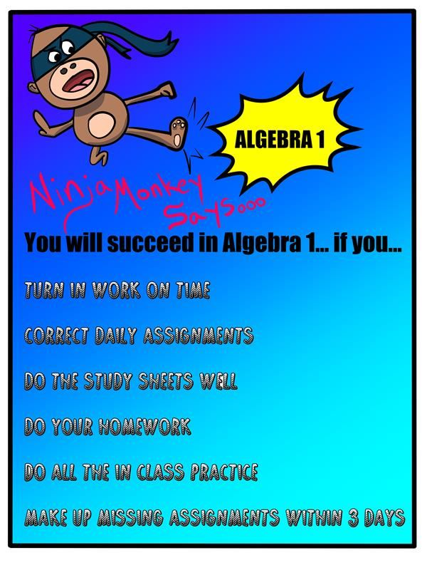 THIS IS WHAT YOU NEED TO DO TO SUCCEED IN ALGEBRA 1.  It's the exact same poster that is posted in my room.