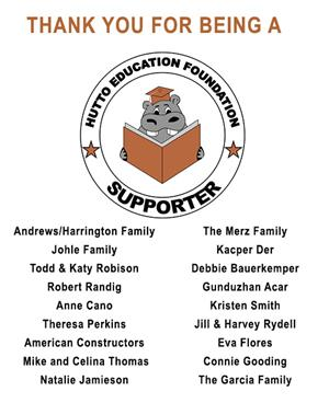 thank you for being a hutto education foundation supporter
