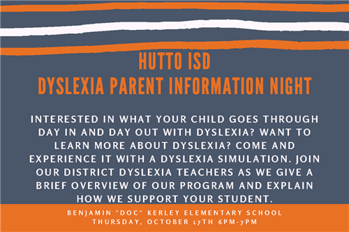Flyer for Dyslexia Parent Info Night