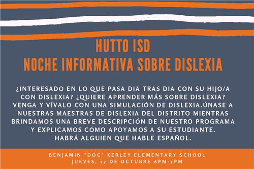 Spanish Flyer for Dyslexia Parent Info Night