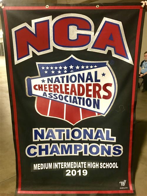 National Championship banner for cheer
