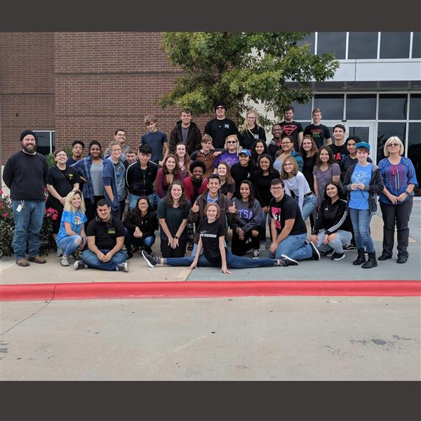 HHS theater students pose as group