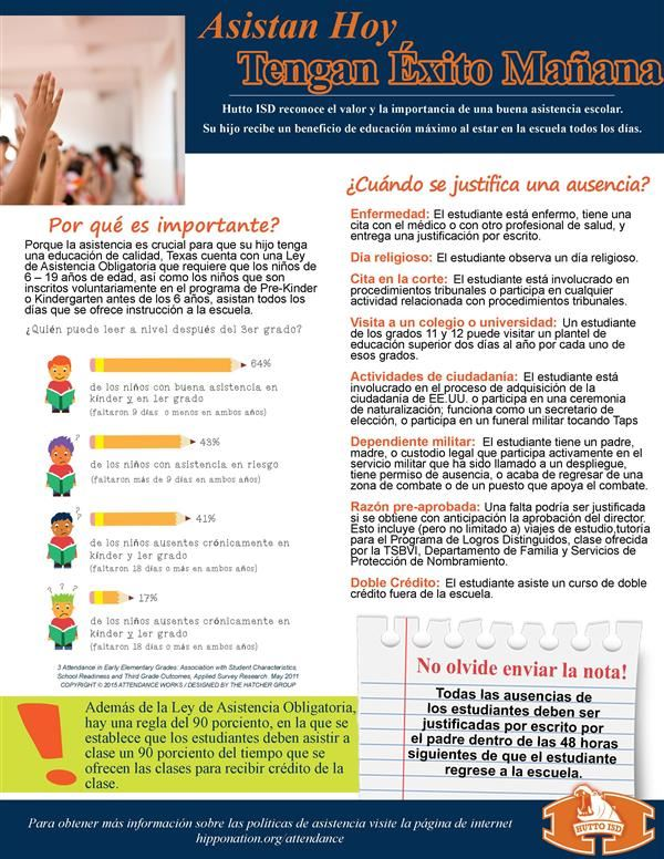 Flyer in Spanish about attendance